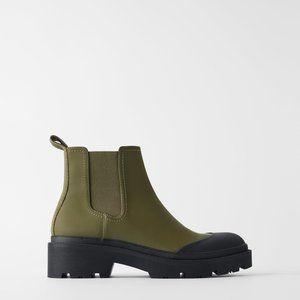 New Zara Womens Technical Ankle Chelsea rubber Boots sz 37 Us sz 6.5